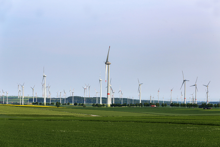Wind engines in the fields in Germany.
