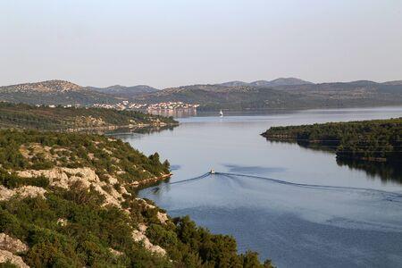 Krka river estuary from the Skradin - Krka bridge. Stock Photo