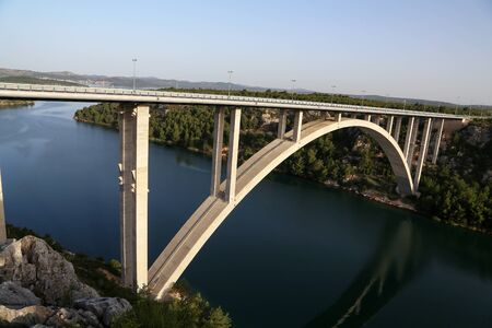 Road bridge over the Krka River in Croatia near the town of Skradin