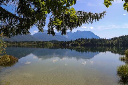 Beautiful day on the shore of Barmsee in Germany