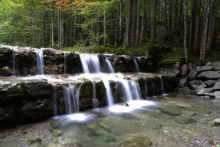 Mountain river flowing through the green forest. Stockfoto - 131587029