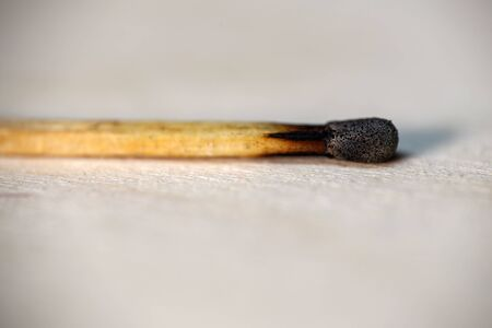 Matches. Burnt match lies on the table.