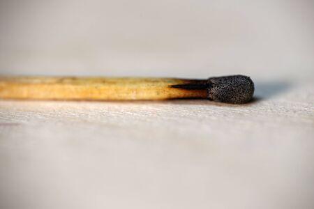 Matches. Burnt match lies on the table. Banco de Imagens