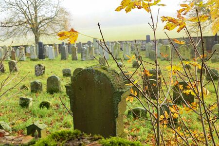 Old Jewish cemetery in Germany on an autumn day.