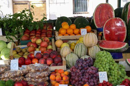 Fruits and vegetables at a bazaar in Croatia.