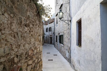 The narrow streets of a small Croatian town