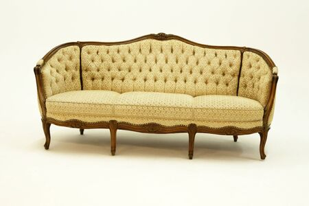 Baroque couch or sofa on white background,