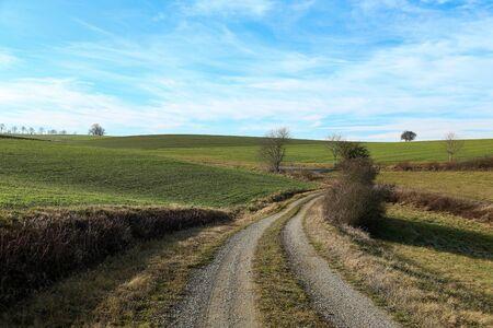 Winter landscape in central Europe abnormally warm winter