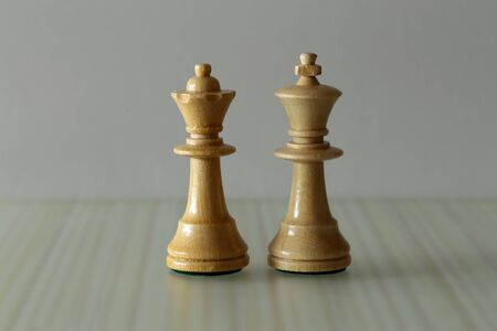 Chess pieces on a blurry light background.
