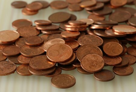 Small euro cent coins in a close-up. EU wants to abolish the small coins.