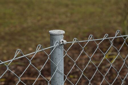 Fence made of metal posts and metal mesh