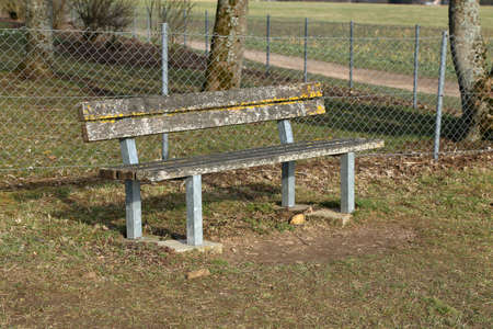 Bench in the park. Wooden bench for rest Standard-Bild