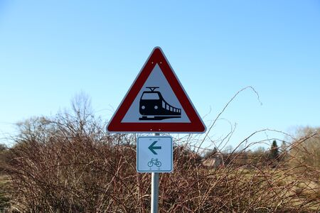 German traffic sign - Pay attention to trains.