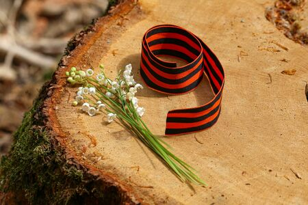 Victory Day. Arrangement of St. George ribbon in the form of number nine.