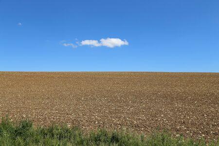 Un champ rocheux labouré et un ciel bleu avec un nuage