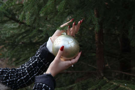 Girl hangs a beautiful Christmas ball on a fir tree in the forest Reklamní fotografie