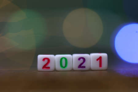 Plastic cubes with numbers 2021 the beginning of the new year