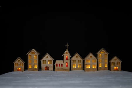 The layout of the town on Christmas night is made of plywood