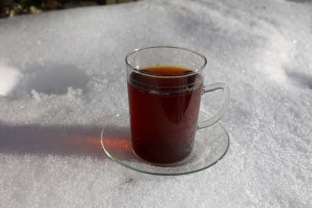 A mug of hot tea stands in the snow