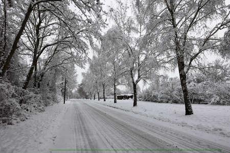 Snowy road on a clear winter day Reklamní fotografie