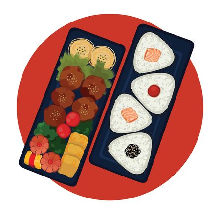 Bento is a single-portion take-out or home-packed meal common in Japanese cuisine. A traditional bento holds rice or noodles, fish or meat, with pickled and cooked vegetables, in a box.