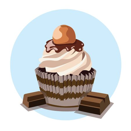 A chocolate cupcake uses the same basic ingredients as standard-sized cakes: butter, sugar, eggs, and flour, especially dark chocolate. It is a small cake designed to serve one person, which may be baked in a small thin paper or aluminum cup. Illustration
