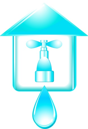 house and tap with big blue water drop Vector