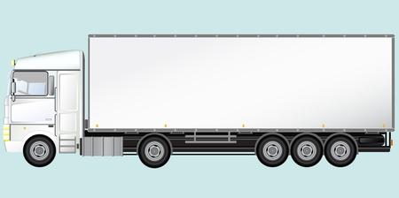 semi truck: Blanco cami�n aislado moderna sobre fondo azul claro