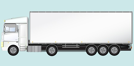 truck on highway:  White Isolated modern truck on light blue background