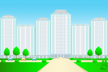 Landscape with new skyscrapers and street on blue sky background Vector