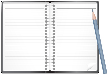 note pad: Open leather notepad with pencil on white background