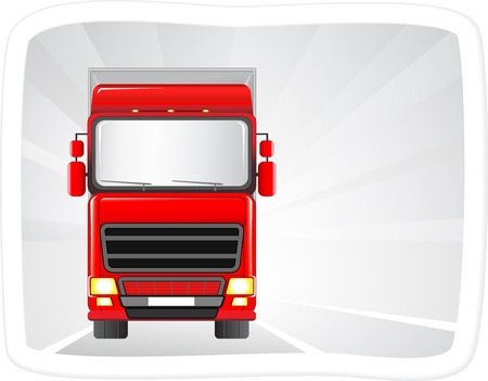 semitrailer: big red truck on the road with abstract background in frame