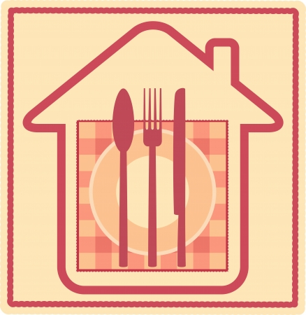 Restaurant sign with house silhouette and plate, fork, knife, spoon, napkin Vector