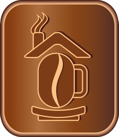 coffee house: Brown sign with coffee bean, house and cup Illustration