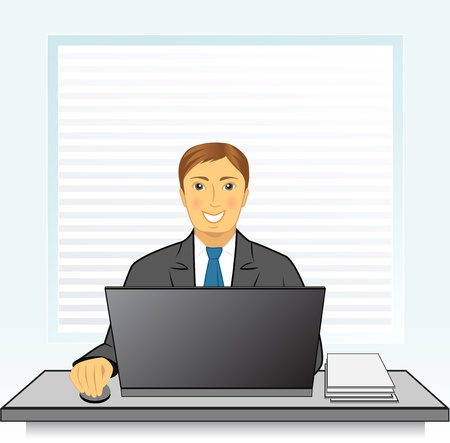computer user: Young smiling businessman with laptop in office behind a desk