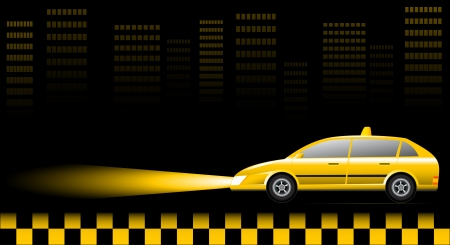 Visiting card with taxi car on urban landscape  Vector