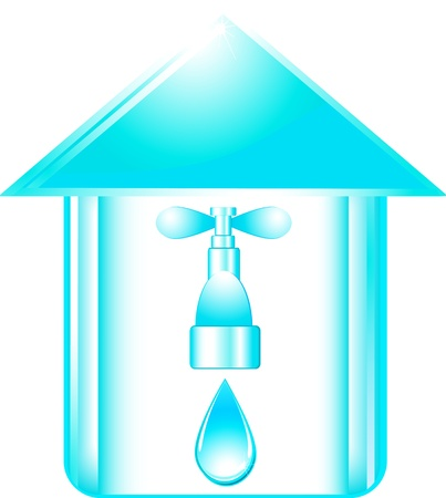 blue icon with faucet silhouette in glossy house Vector