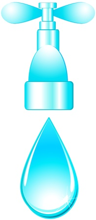 conduit: glossy  isolated tap and blue water drop on white background