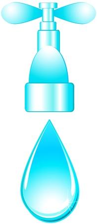 sanificazione: lucido rubinetto isolato e goccia d'acqua blu su sfondo bianco Vettoriali