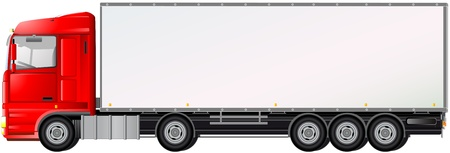 trailer: cami�n rojo aislado en fondo blanco con espacio para el texto