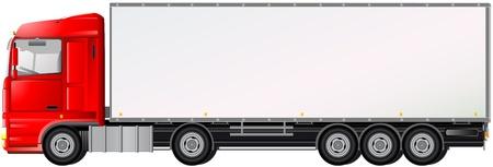 lorry: isolato camion rosso su sfondo bianco con spazio per il testo