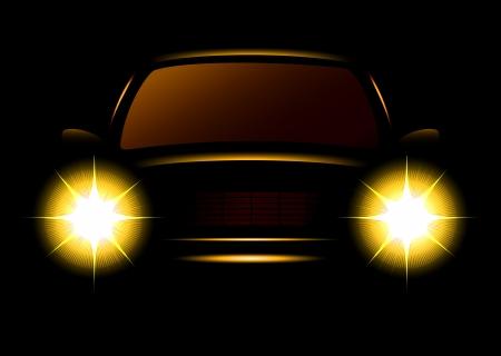 scheinwerfer: Transport Icon mit modernen Auto Silhouette auf schwarzem Hintergrund