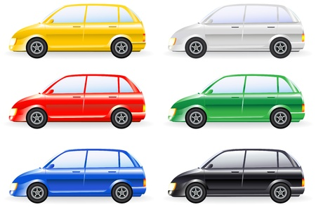 car drawing: transport set of colorfull isolated modern cars model