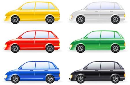 smallest: transport set of colorfull isolated modern cars model