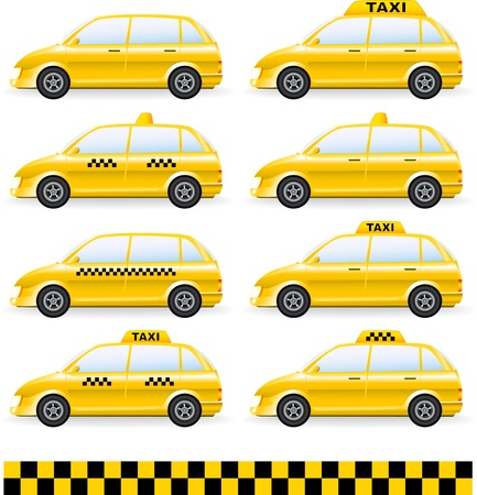transport set of isolated cars  with taxi symbol Vector