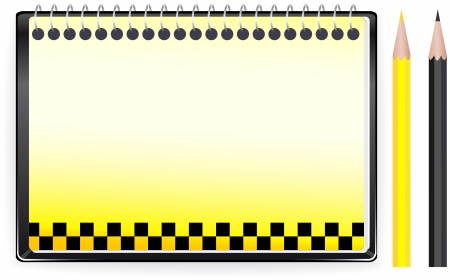 ring road: transport background with notepad empthy page, taxi sign and space for text