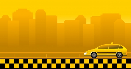 Urban background with taxi car and skyscrapers Vector