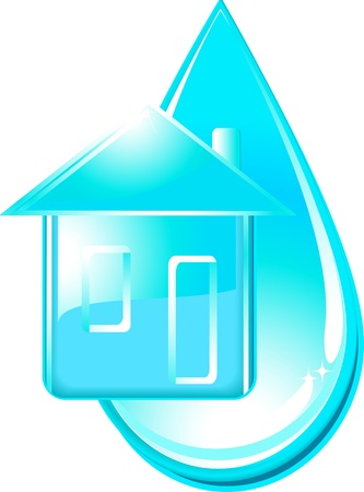 glossy isolated house and blue water drop Vector