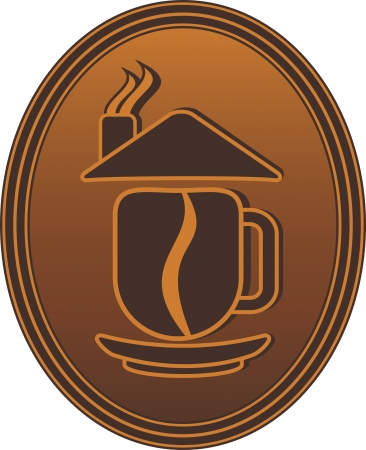 coffee: concept symbol with coffee cup, bean and house