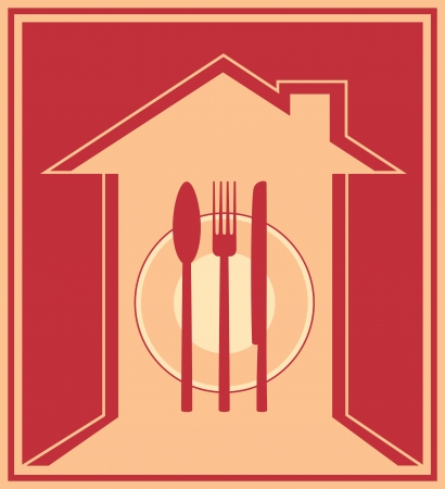 Red icon with house silhouette and utensil, plate, fork, knife, spoon, napkin Vector